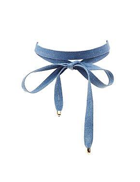 Denim Wrap Choker Necklace