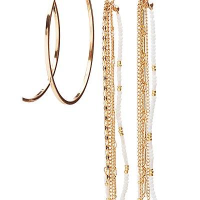 Hoop & Beaded Tassel Earrings Set