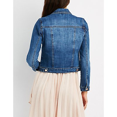 Refuge Cropped Destroyed Denim Jacket