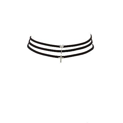 Embellished Charm Choker Necklaces - 3 Pack