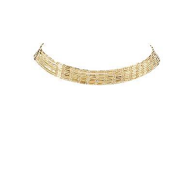 Plus Size Multi-Strand Beaded Choker Necklace