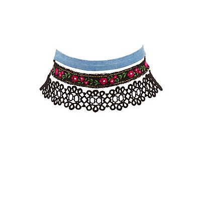 Crochet, Denim & Embroidered Choker Necklaces - 3 Pack