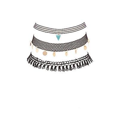 Embellished Crochet & Mesh Choker Necklaces - 3 Pack