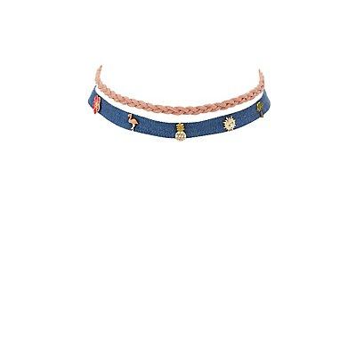 Faux Suede & Denim Choker Necklaces - 2 Pack
