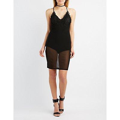 Mesh & Lace-Trim Bodycon Dress