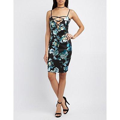 Floral Lattice-Front Bodycon Dress
