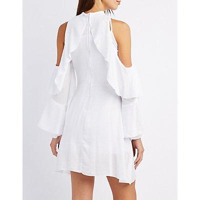 Mock Neck Ruffle Cold Shoulder Dress