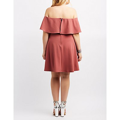 Plus Size Ruffle Off-The-Shoulder Skater Dress