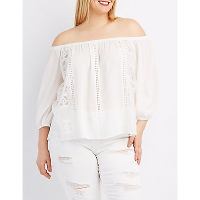 Plus Size Lace-Trim Off-The-Shoulder Top