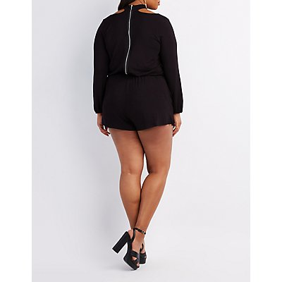 Plus Size Choker Neck Romper