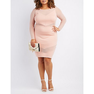 Plus Size Chevron Mesh-Trim Bodycon Dress
