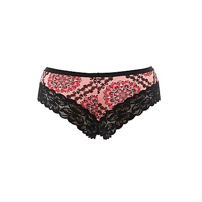 Plus Size Printed Lace-Trim Cheeky Panties