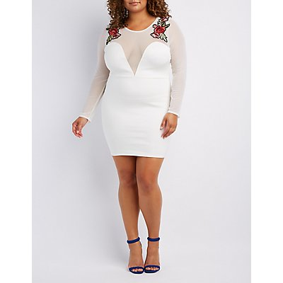 Plus Size Embroidered Mesh-Trim Bodycon Dress