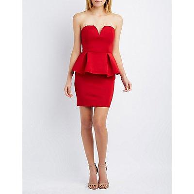 Scuba Strapless Peplum Dress