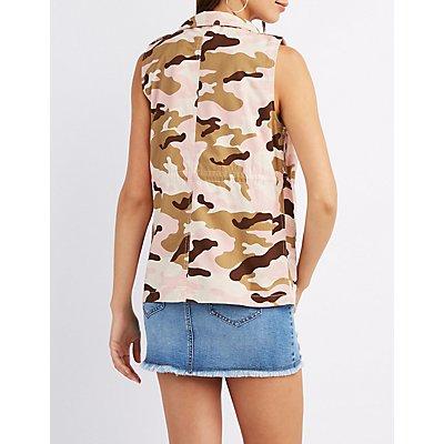 Camo Drawstring Cargo Vest