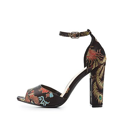 Embroidered Two-Piece Sandals