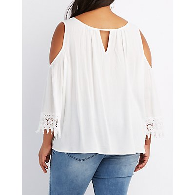 Plus Size Crochet-Trim Cold Shoulder Top