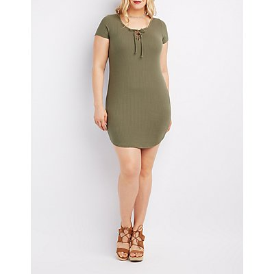 Plus Size Ribbed Lace-Up Bodycon Dress