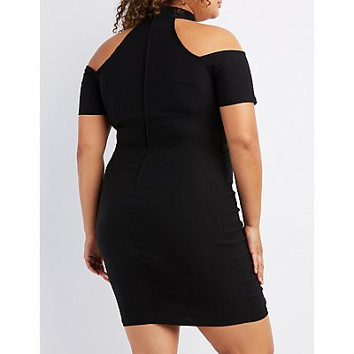 Plus Size Choker Neck Notched Dress