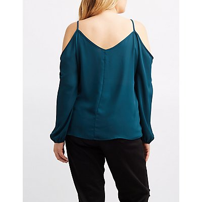 Plus Size Caged Cold Shoulder Top