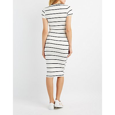Striped & Ribbed Midi Dress