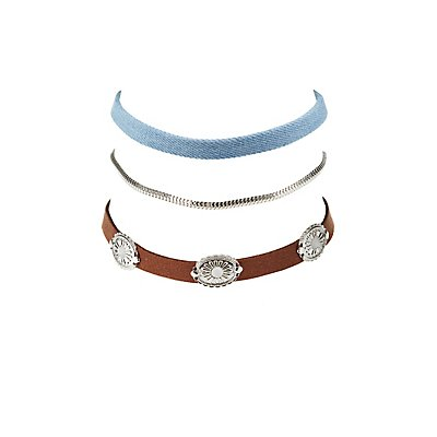 Plus Size Metal Charm, Denim, & Chainlink Choker Necklaces- 3 Pack