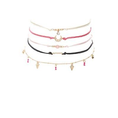 Plus Size Embellished Choker Necklaces - 5 Pack