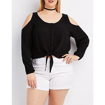 Plus Size Cold Shoulder Button-Up Top