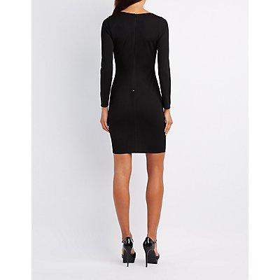 Lattice-Slit Bodycon Dress