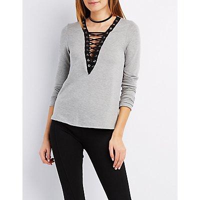 Lace-Up V-Neck Sweatshirt