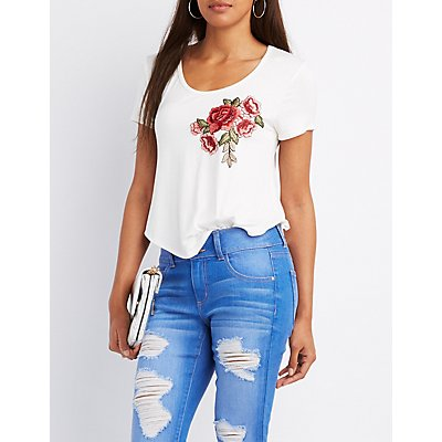 Rose Embroidered Tee