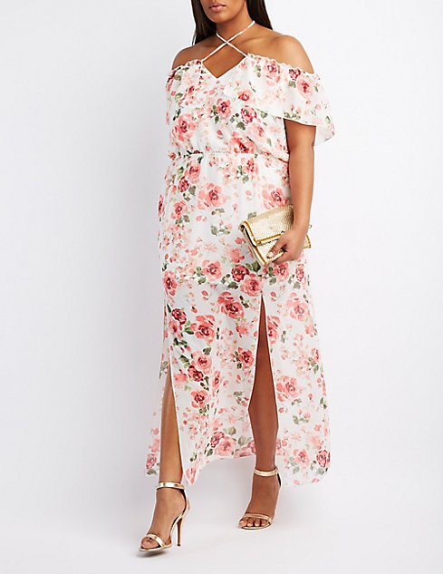 Plus Size Floral Off-The-Shoulder Maxi Dress | Charlotte Russe