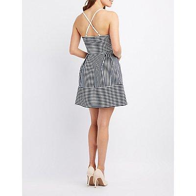 Striped Surplice Skater Dress