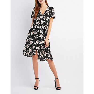 Floral Surplice Skater Dress