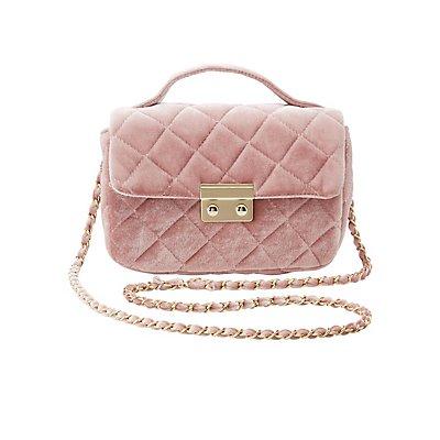 Quilted Velvet Crossbody Bag