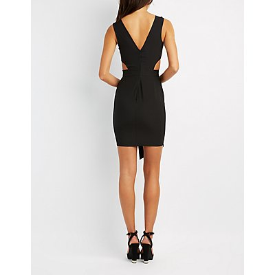 Embroidered Cut-Out Asymmetrical Dress
