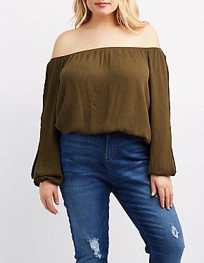 Plus Size Off-The-Shoulder Split Sleeve Top