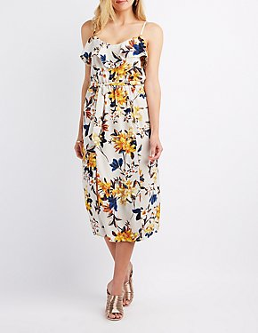 Floral Ruffle-Trim Midi Dress