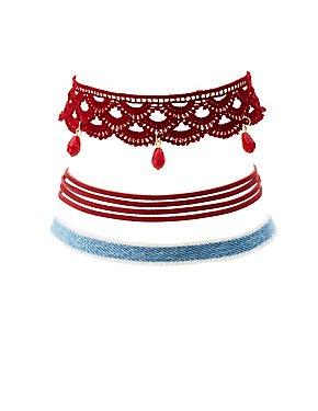 Crochet, Denim & Faux Suede Choker Necklaces - 3 Pack