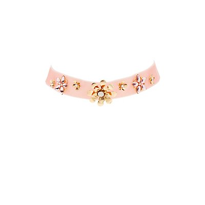 Flower Embellished Velvet Choker Necklace