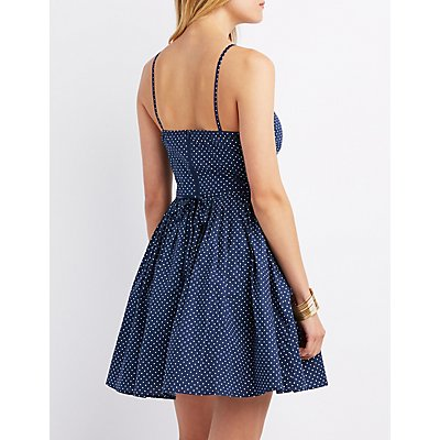 Polka Dot Bib Neck Skater Dress