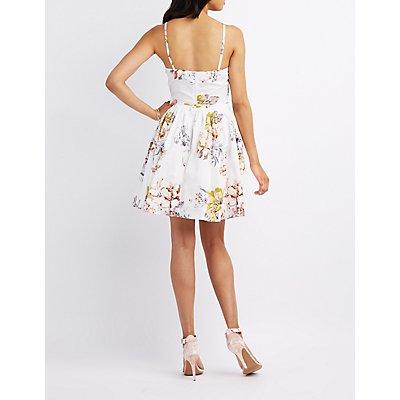 Floral Bib Neck Pleated Dress