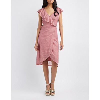Lace Ruffle Wrap Dress