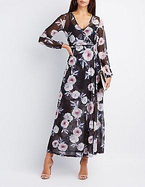 Floral Mesh Maxi Wrap Dress