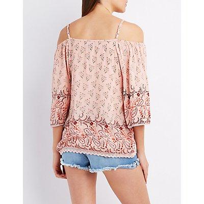 Printed Crochet-Trim Cold Shoulder Top