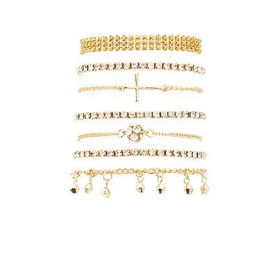 Embellished Layering Bracelets - 7 Pack