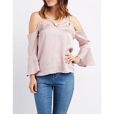 Strappy Bell Sleeve Cold Shoulder Top