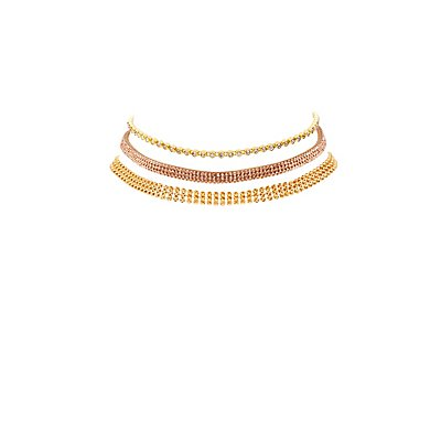 Rhinestone & Chainlink Choker Necklaces - 3 Pack