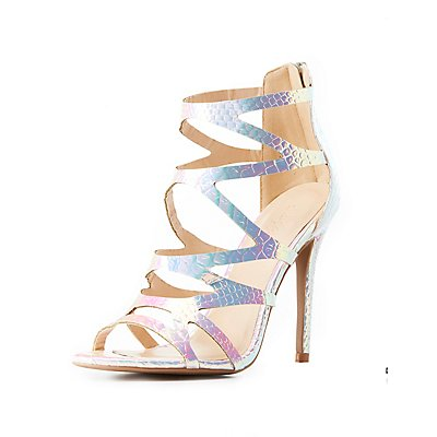 Iridescent Caged Dress Sandals