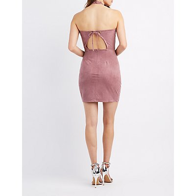 Faux Suede Halter Bodycon Dress